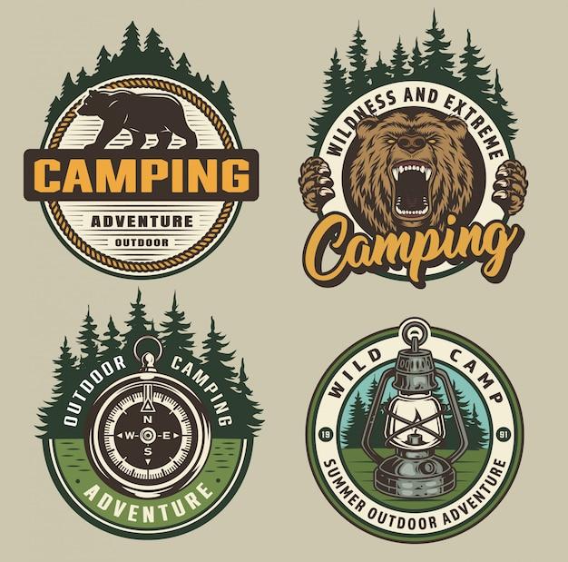 Vintage camping abzeichen Kostenlosen Vektoren