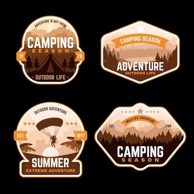 Vintage camping und abenteuer abzeichen Kostenlosen Vektoren