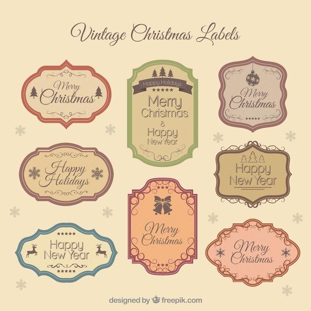 Vintage christmas etiketten download der kostenlosen vektor - Vintage bilder kostenlos ...