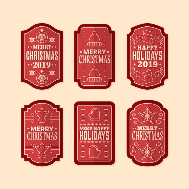 Vintage christmas label-auflistung Kostenlosen Vektoren