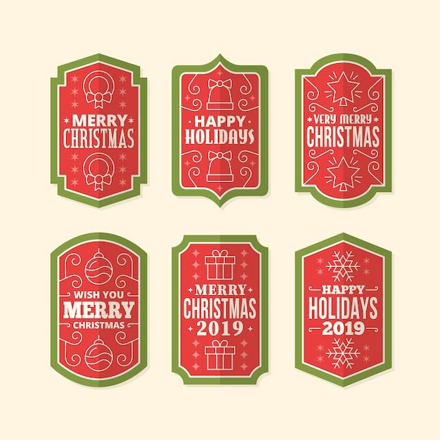 Vintage christmas label pack Kostenlosen Vektoren