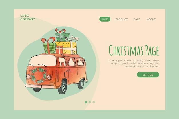 Vintage christmas landing page vorlage Kostenlosen Vektoren