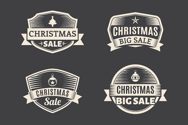 Vintage christmas sale tag-auflistung Kostenlosen Vektoren
