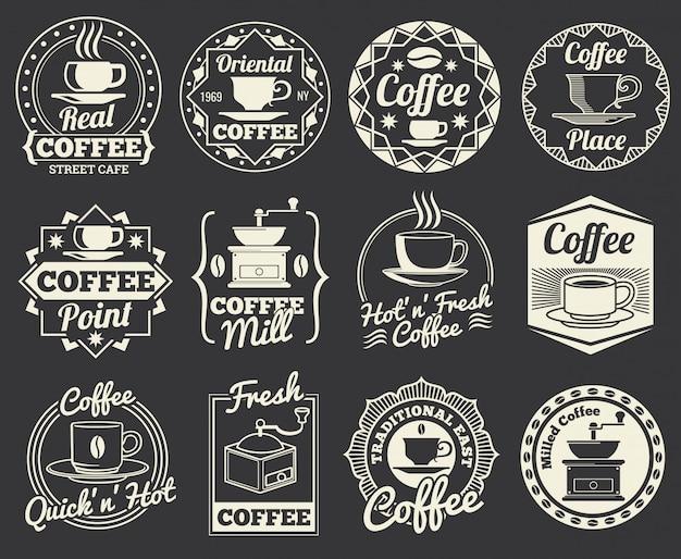 Vintage coffee-shop und café logos, abzeichen und etiketten. Premium Vektoren