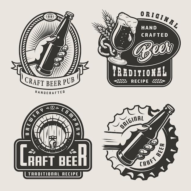 Vintage craft beer abzeichen Kostenlosen Vektoren