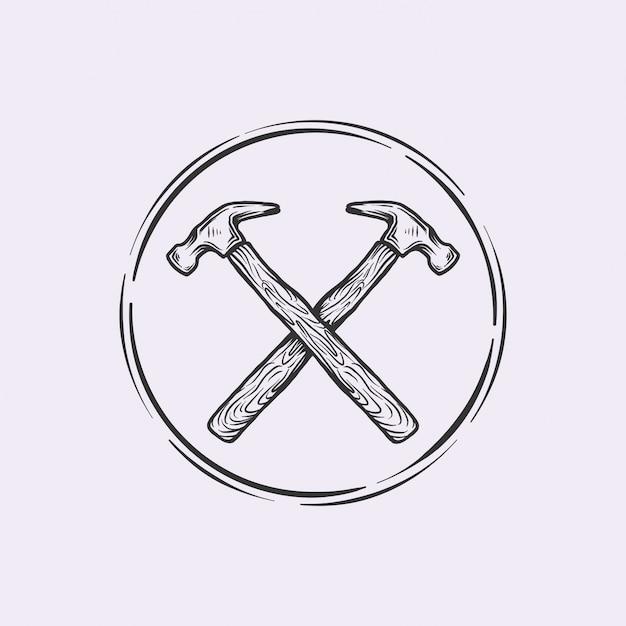 Vintage cross hammer mit handgezeichnetem logo Premium Vektoren