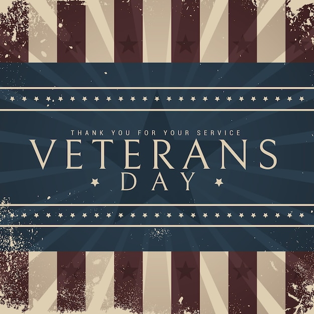 Vintage design feiert veteranentag Premium Vektoren