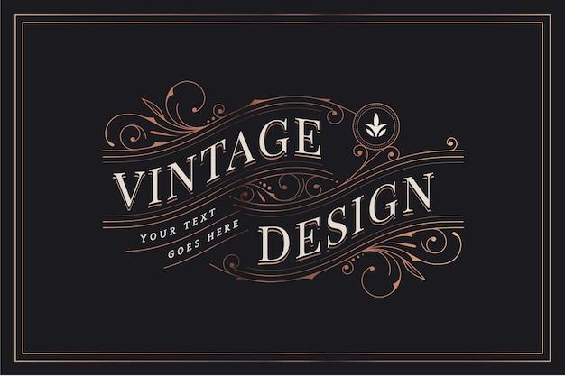 Vintage design mit zierdekorationen Kostenlosen Vektoren