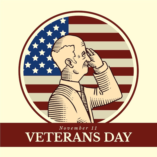 Vintage design veterans day event Kostenlosen Vektoren