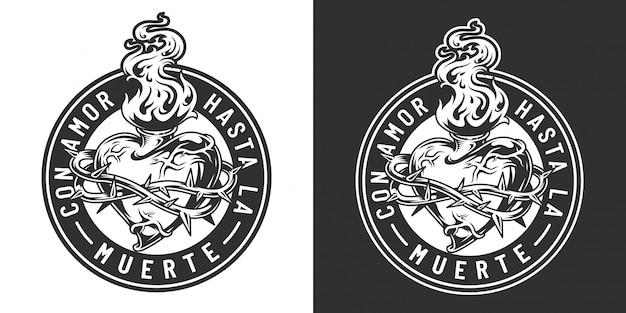 Vintage emblem des mexikanischen tages der toten Kostenlosen Vektoren