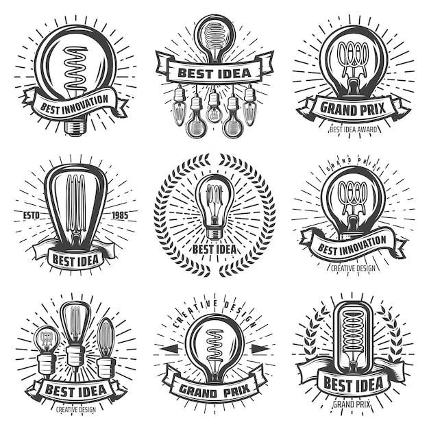 Vintage energieeffiziente glühbirnenetiketten mit inschriften verschiedener glühbirnen Kostenlosen Vektoren