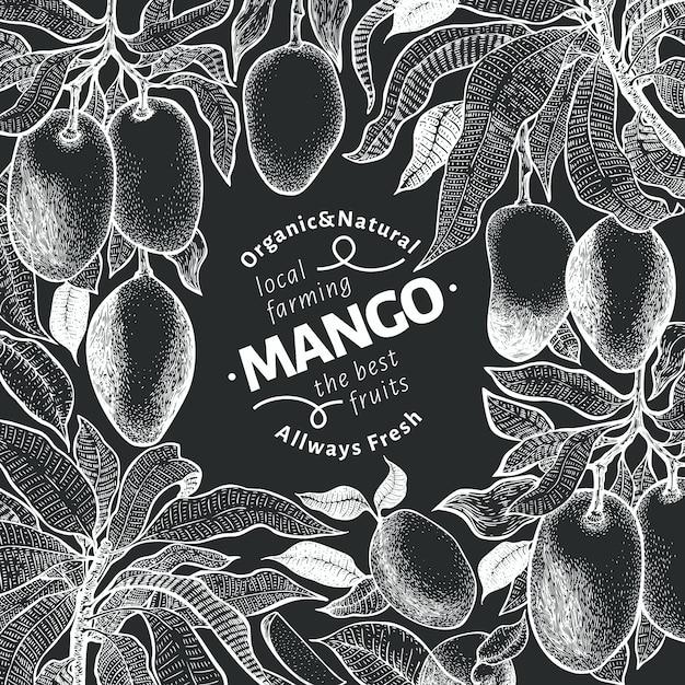 Vintage entwurfsvorlage für mangobaum. Premium Vektoren