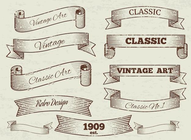 Vintage etiketten und banner sammlung Premium Vektoren
