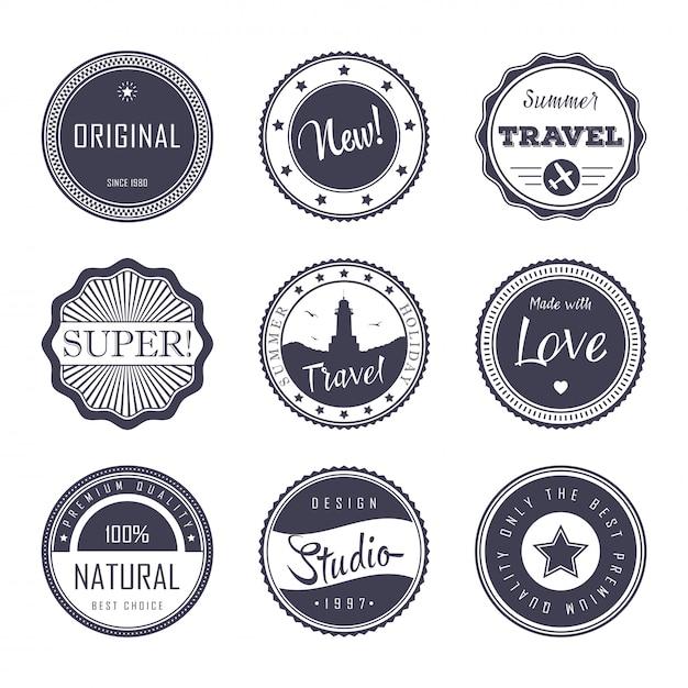 Vintage etikettenvorlage festgelegt Premium Vektoren