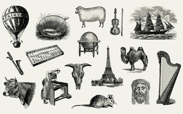 Vintage europäische objekte gesetzt Kostenlosen Vektoren