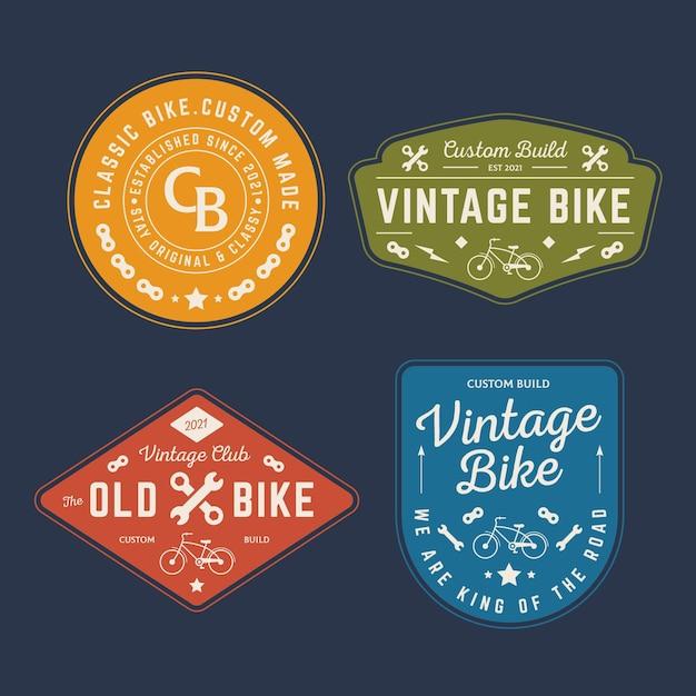 Vintage fahrrad logo sammlung Premium Vektoren