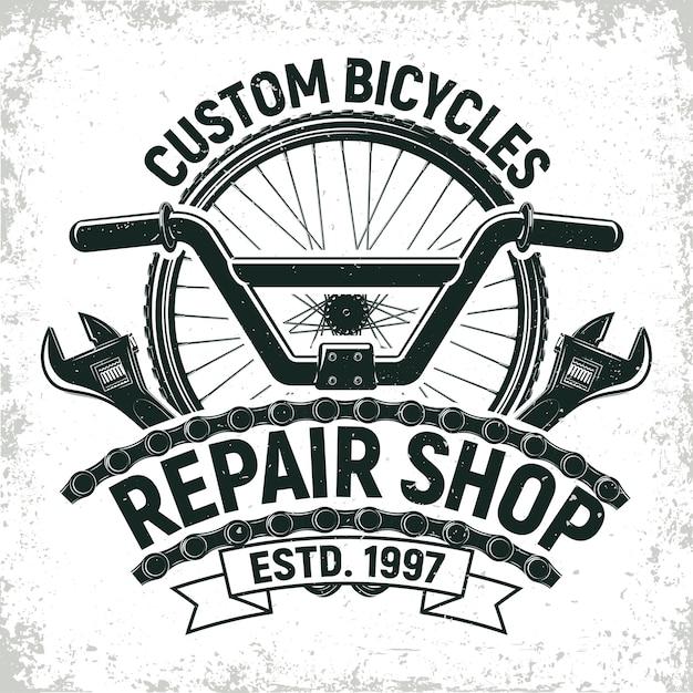 Vintage fahrradreparaturwerkstatt-logo, grange-druckstempel, kreatives typografie-emblem, Premium Vektoren