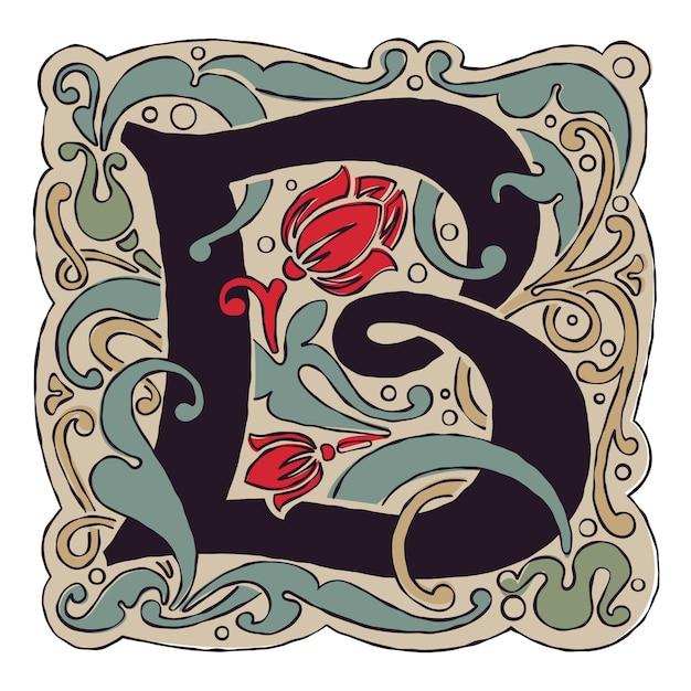 Vintage-farben des antiken gotischen anfangslogos des b-buchstabens. Premium Vektoren