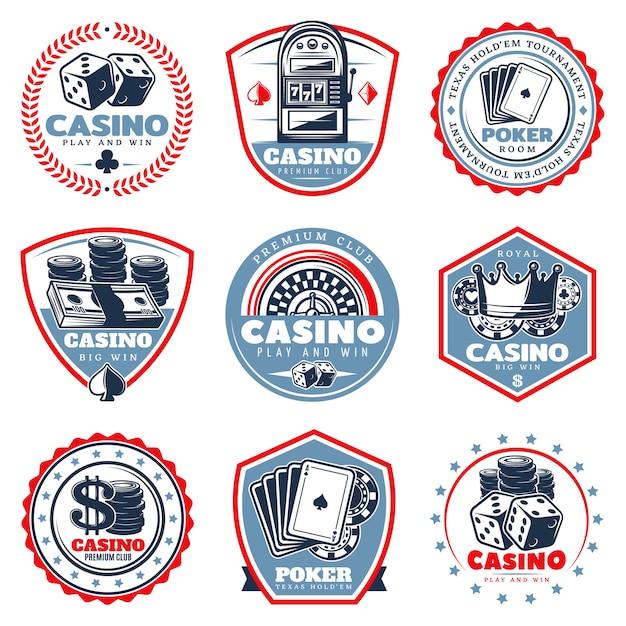 Vintage farbige casino-etiketten-set Kostenlosen Vektoren