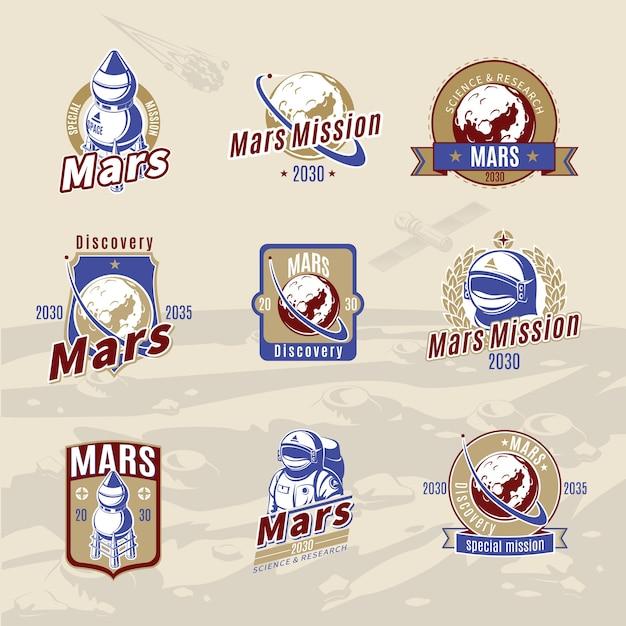 Vintage farbige mars exploration labels set Kostenlosen Vektoren