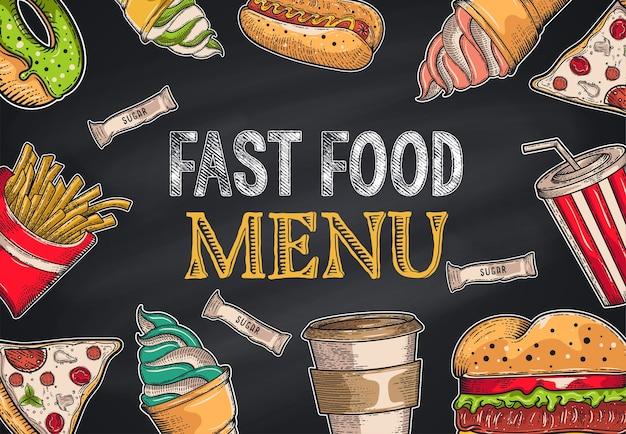 Vintage fast-food-set. hand gezeichnet, beschriftung, skizze Premium Vektoren