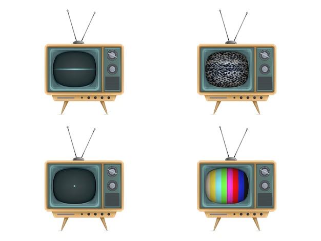 Vintage Fernseher, Fernseher. Einschalten, aus, weißes Rauschen, Testkarte, Start Kostenlose Vektoren
