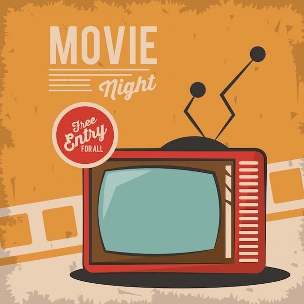 Vintage Film Nacht Fernsehen Kartenkonzept | Download der Premium Vektor
