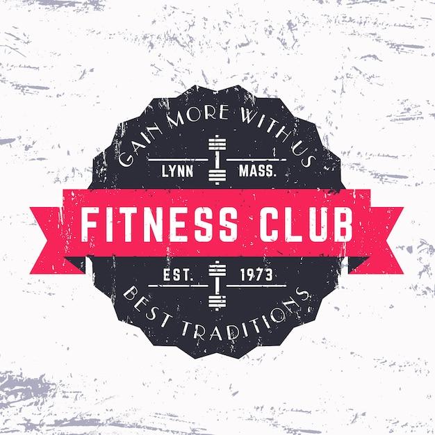 Vintage fitness club grunge logo, abzeichen, illustration Premium Vektoren