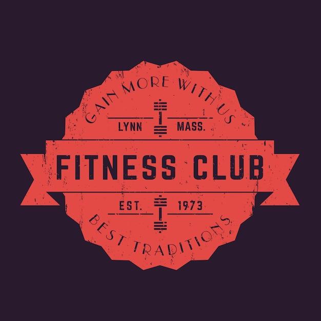 Vintage fitness club logo, abzeichen, vektor emblem Premium Vektoren
