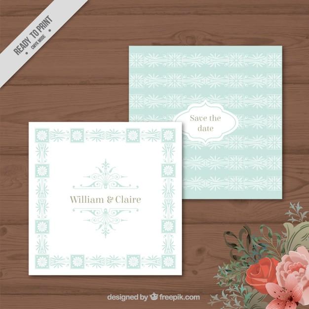 Vintage Floral Quadrat Hochzeitseinladung Download Der Kostenlosen