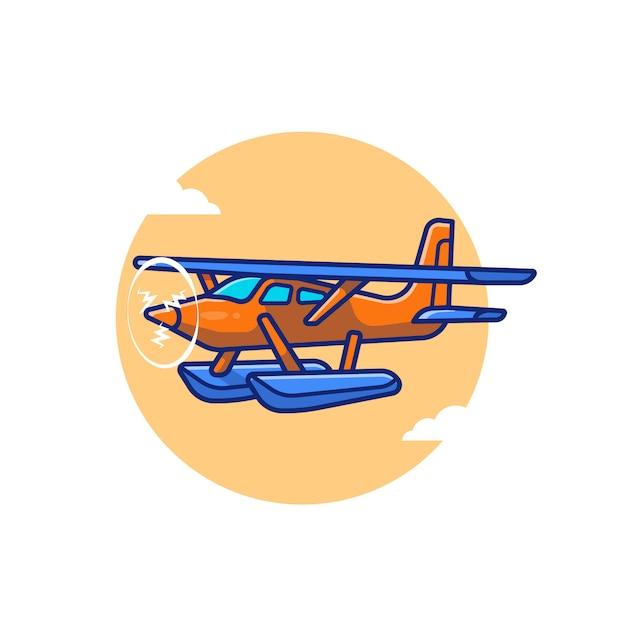Vintage flugzeug cartoon icon illustration. air transportasion icon konzept isoliert premium. flacher cartoon-stil Premium Vektoren