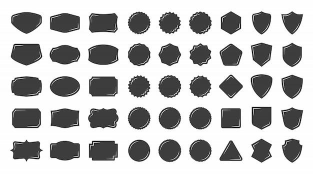 Vintage form abzeichen und etikettenkollektionen Premium Vektoren