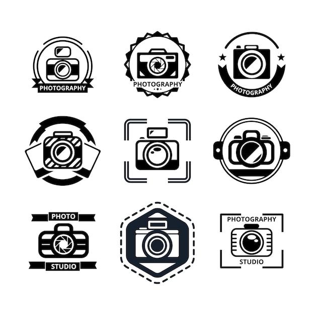 Vintage fotografie abzeichen oder logos gesetzt. Kostenlosen Vektoren