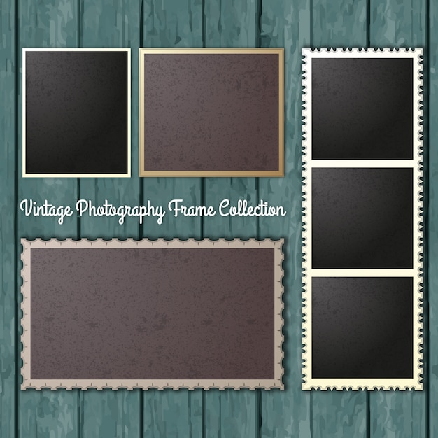 Vintage-fotografie frames collection Kostenlosen Vektoren