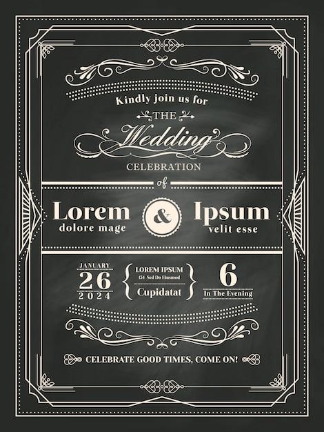 Vintage Frame Hochzeit Einladungskarte Auf Tafel Mit Kreide Premium Vektoren