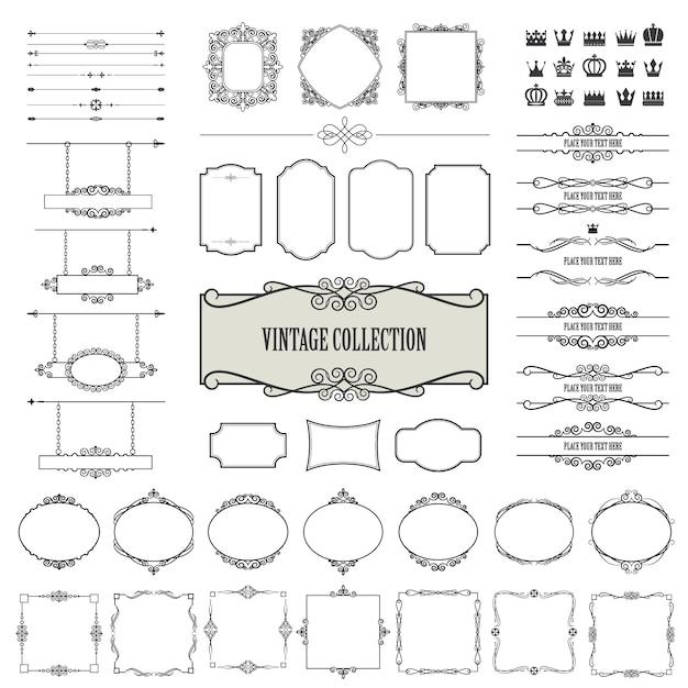 Vintage frames gesetzt Premium Vektoren