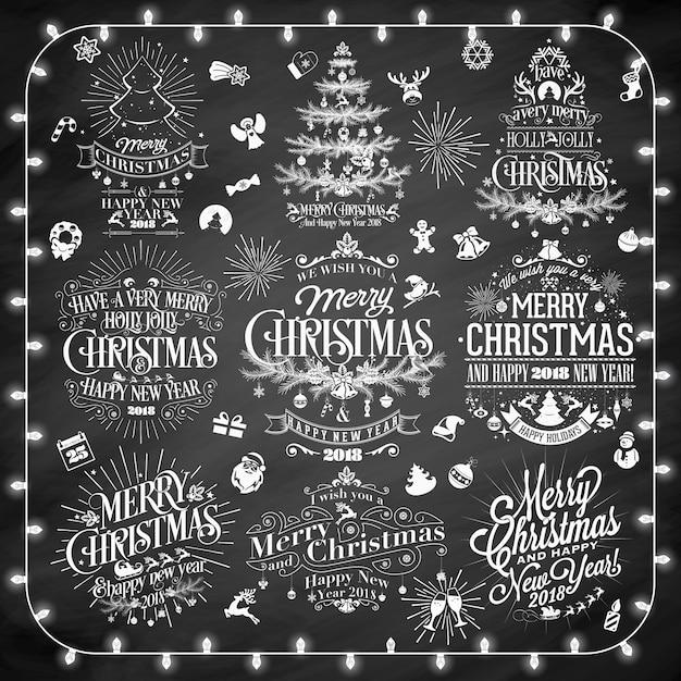 Vintage frohe weihnachten und happy new year for Scritte vintage