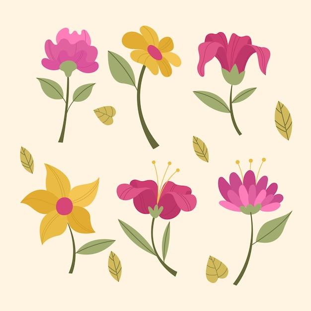 Vintage frühlingsblumensammlung Kostenlosen Vektoren