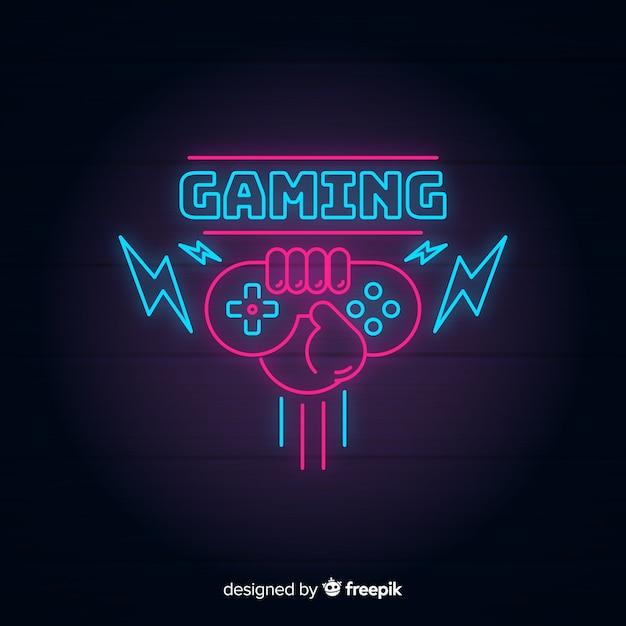 Vintage gaming-logo mit neonlichtern Kostenlosen Vektoren