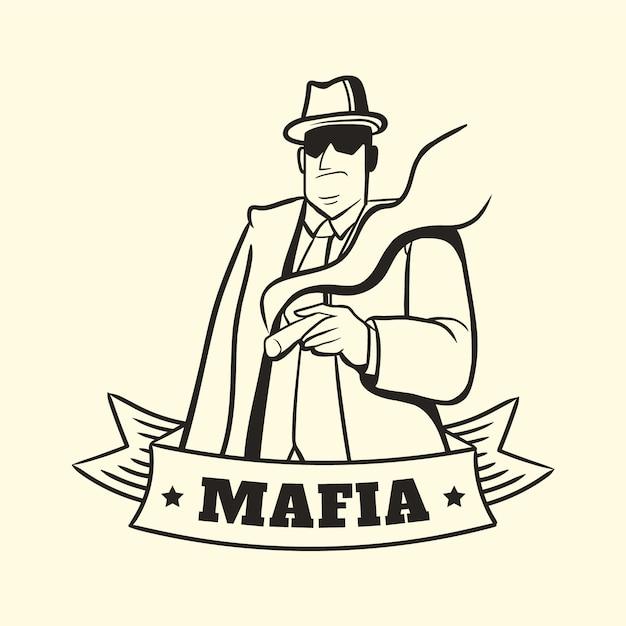 Vintage gangster mafia charakter Kostenlosen Vektoren