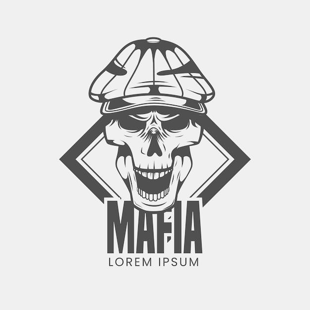 Vintage gangster mafia logo mit schädel Premium Vektoren