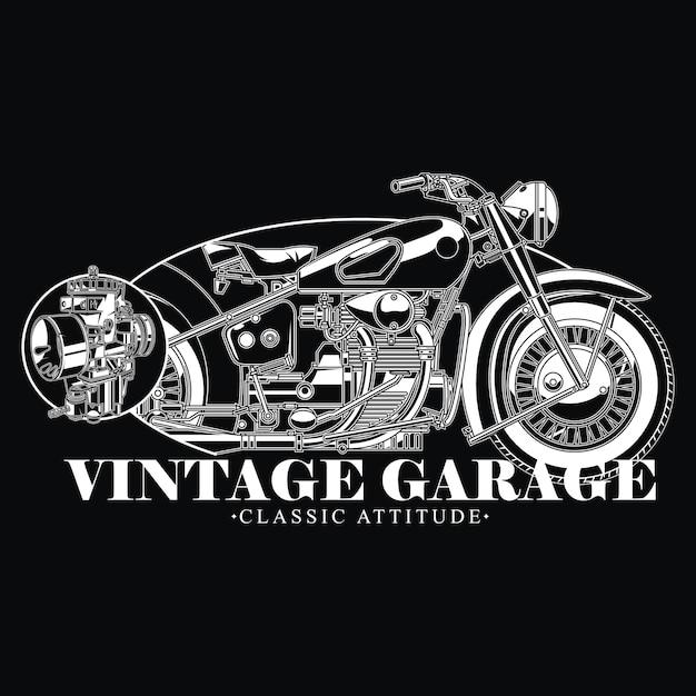 Vintage garage design für klassische haltung biker Premium Vektoren