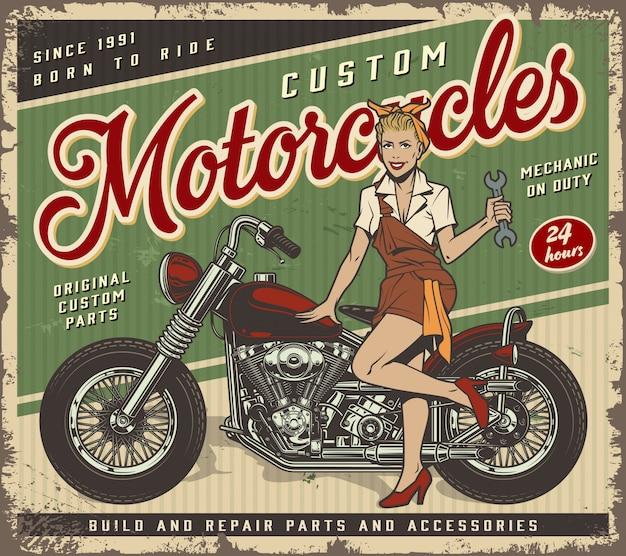Vintage garagen-service-plakatschablone mit pin-up-mechaniker-mädchen Kostenlosen Vektoren