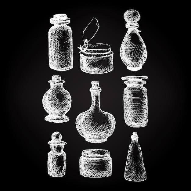 Vintage gläser und flaschen Premium Vektoren