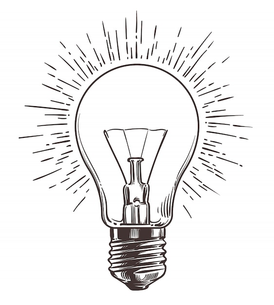Vintage glühbirne im gravurstil Premium Vektoren