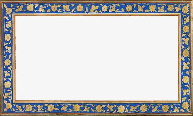 Vintage gold und blauer rechteckrahmen Kostenlosen Vektoren