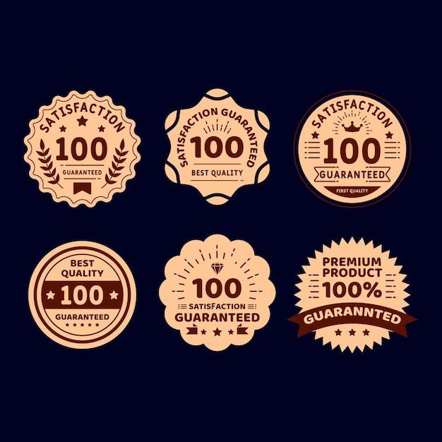 Vintage goldene 100% garantie etikettenkollektion Premium Vektoren