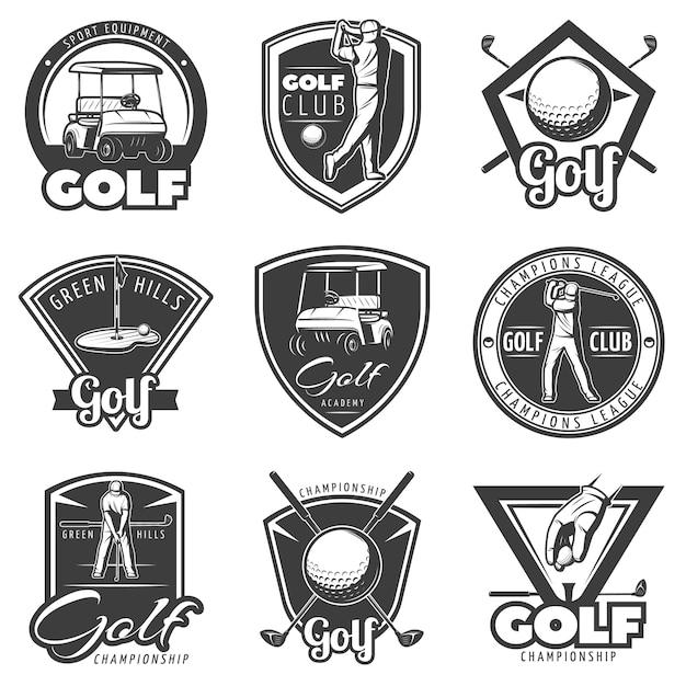 Vintage golf abzeichen set Kostenlosen Vektoren