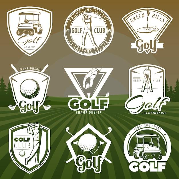 Vintage golf club logos Kostenlosen Vektoren