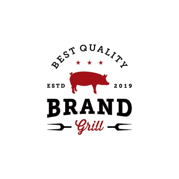 Vintage grill grill abzeichen logo design-vorlage Premium Vektoren